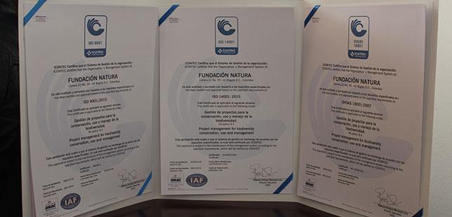 Fundación Natura Recibió Certificaciones ISO 14001, OSHAS 18001 Y Se Actualizó En La ISO 9001
